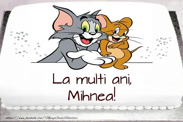 Felicitari pentru copii - Tort cu Tom si Jerry: La multi ani, Mihnea!