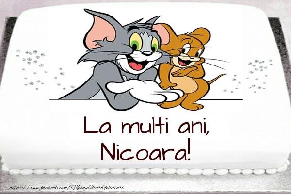 Felicitari pentru copii - Tort cu Tom si Jerry: La multi ani, Nicoara!