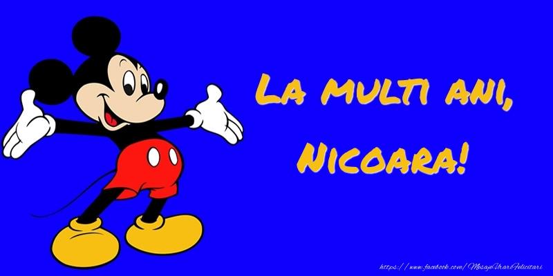 Felicitari pentru copii - Felicitare cu Mickey Mouse: La multi ani, Nicoara!