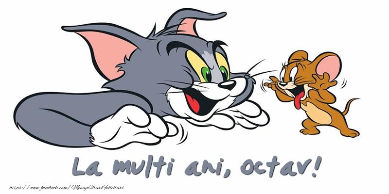 Felicitari pentru copii - Felicitare cu Tom si Jerry: La multi ani, Octav!