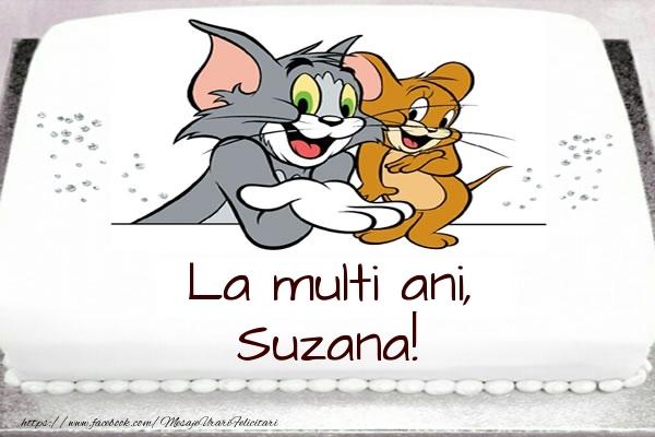 Felicitari pentru copii - Tort cu Tom si Jerry: La multi ani, Suzana!