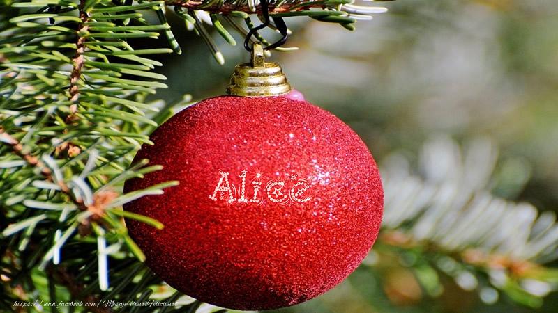 Felicitari de Craciun - Numele Alice pe glob
