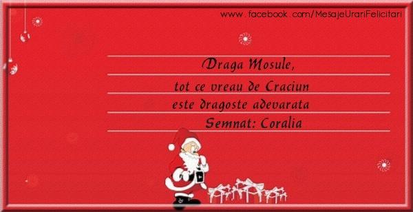 Felicitari de Craciun - Draga Mosule, Tot ce vreau de Craciun este dragoste adevarata semnat Coralia