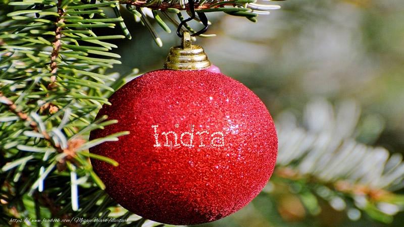 Felicitari de Craciun - Numele Indra pe glob