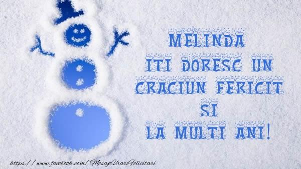 Felicitari de Craciun - Melinda iti doresc un Craciun Fericit si La multi ani!