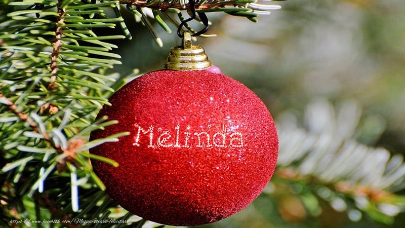Felicitari de Craciun - Numele Melinda pe glob