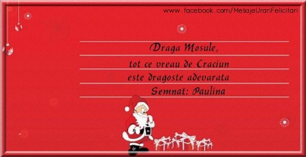Felicitari de Craciun - Draga Mosule, Tot ce vreau de Craciun este dragoste adevarata semnat Paulina