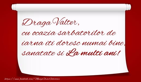 Felicitari de Craciun - Draga Valter, cu ocazia sarbatorilor de iarna iti doresc numai bine, sanatate si  La multi ani!