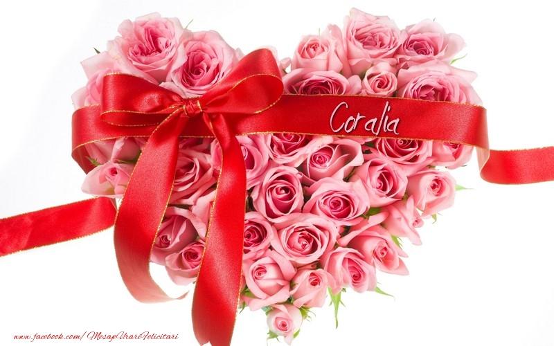 Felicitari de dragoste - Flori pentru Coralia