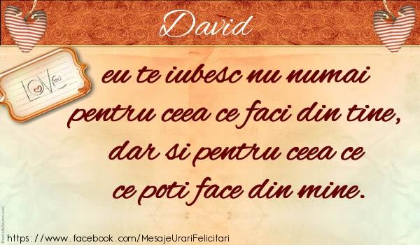 Felicitari de dragoste - David eu te iubesc nu numai pentru ceea ce faci din tine, dar si pentru ceea ce poti face din mine.