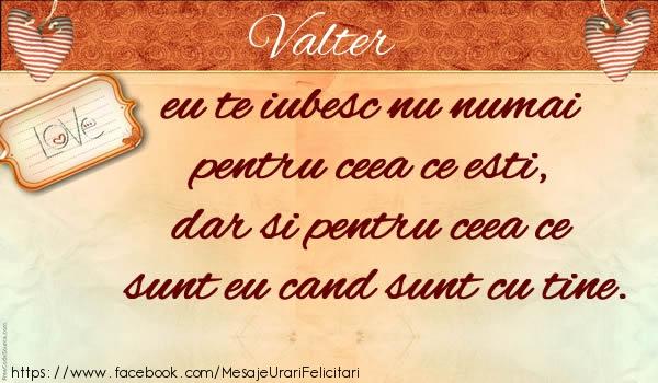 Felicitari de dragoste - Valter eu te iubesc nu numai  pentru ceea ce esti,  dar si pentru ceea ce sunt eu cand sunt cu tine.