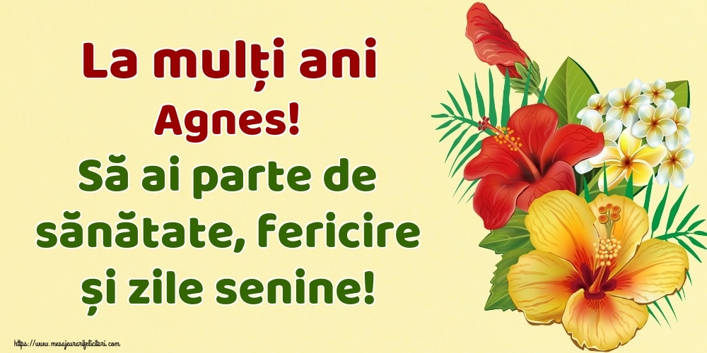 Felicitari de la multi ani - La mulți ani Agnes! Să ai parte de sănătate, fericire și zile senine!