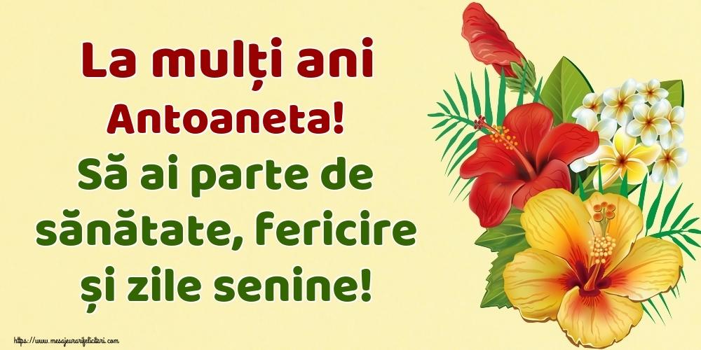 Felicitari de la multi ani - La mulți ani Antoaneta! Să ai parte de sănătate, fericire și zile senine!