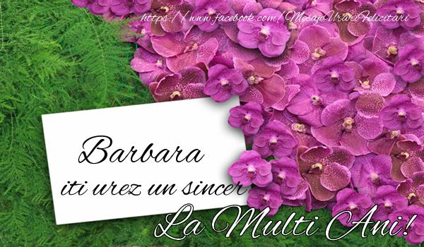 Felicitari de la multi ani - Barbara iti urez un sincer La multi Ani!