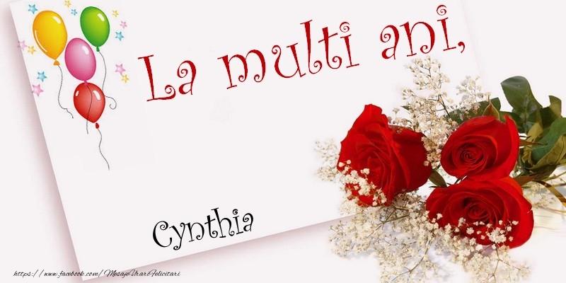Felicitari de la multi ani - La multi ani, Cynthia