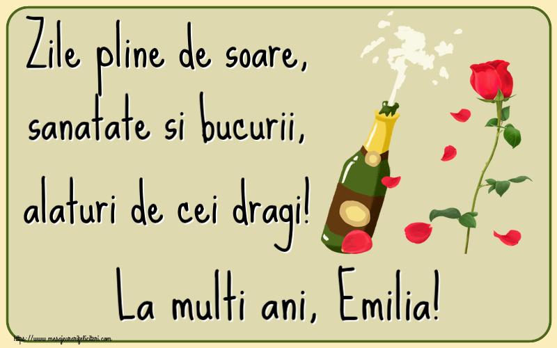 Felicitari de la multi ani - Zile pline de soare, sanatate si bucurii, alaturi de cei dragi! La multi ani, Emilia!