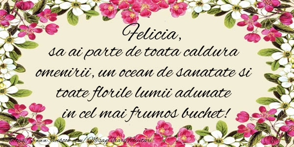 Felicitari de la multi ani - Felicia, sa ai parte de toata caldura omenirii, un ocean de sanatate si toate florile lumii adunate in cel mai frumos buchet!