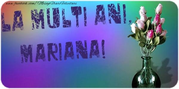 Felicitari de la multi ani - La multi ani, Mariana