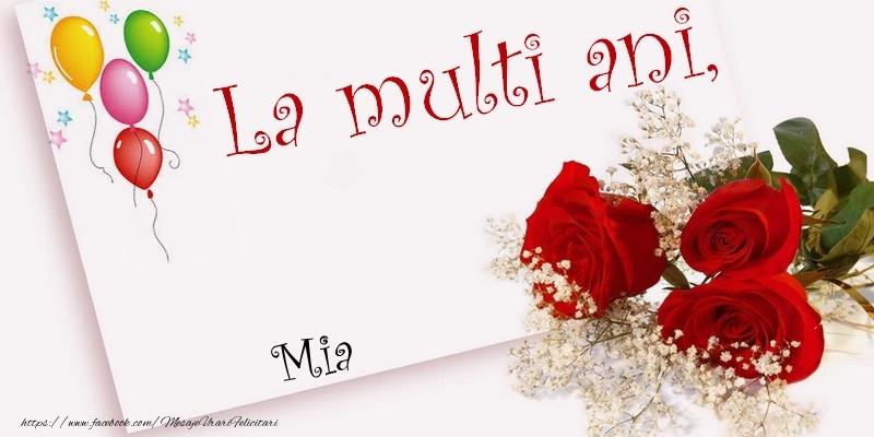 Felicitari de la multi ani - La multi ani, Mia