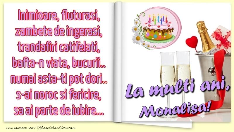 Felicitari de la multi ani - Inimioare, fluturasi, zambete de ingerasi, trandafiri catifelati, bafta-n viata, bucurii.. numai asta-ti pot dori.. s-ai noroc si fericire, sa ai parte de iubire...La multi ani, Monalisa!