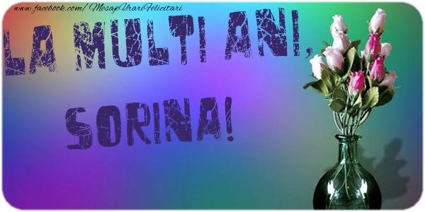 Felicitari de la multi ani - La multi ani, Sorina