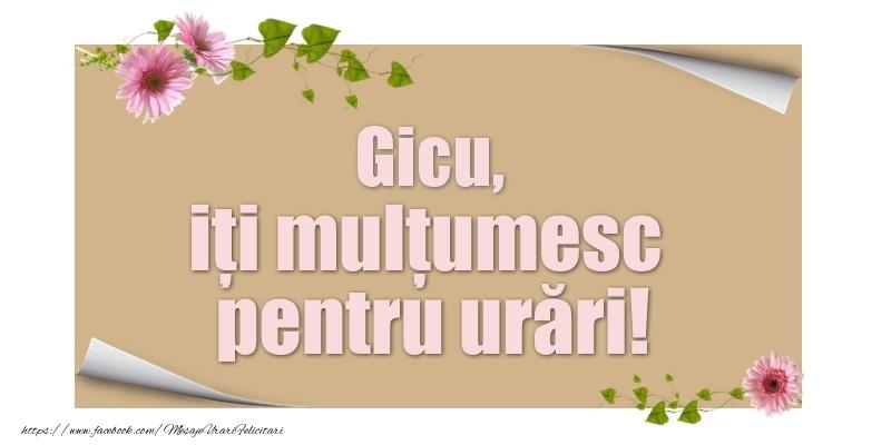 Felicitari de multumire - Gicu, iți mulțumesc pentru urări!