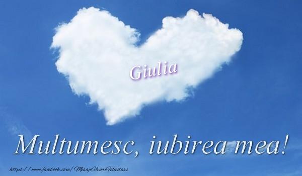 Felicitari de multumire - Giulia. Multumesc, iubirea mea!