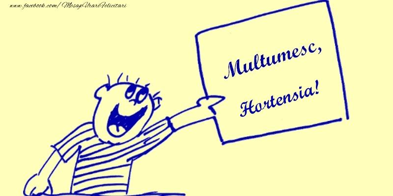Felicitari de multumire - Multumesc, Hortensia