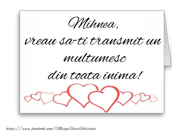 Felicitari de multumire - Mihnea, vreau sa-ti transmit un multumesc din toata inima!