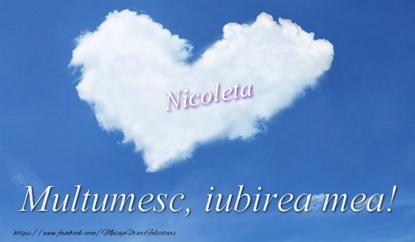Felicitari de multumire - Nicoleta. Multumesc, iubirea mea!