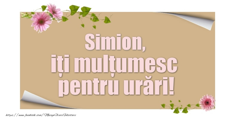 Felicitari de multumire - Simion, iți mulțumesc pentru urări!