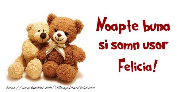 Felicitari de noapte buna - Noapte buna si Somn usor Felicia!