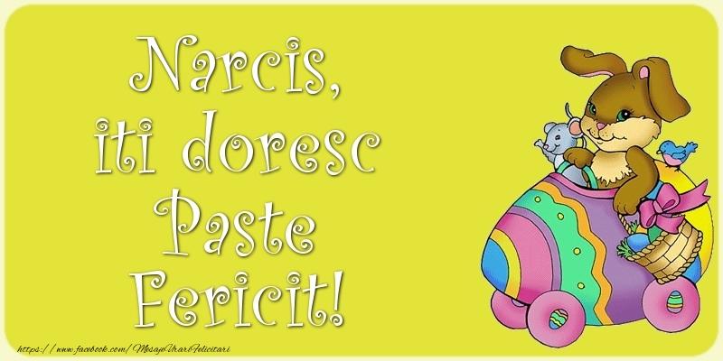 Felicitari de Paste - Narcis, iti doresc Paste Fericit!