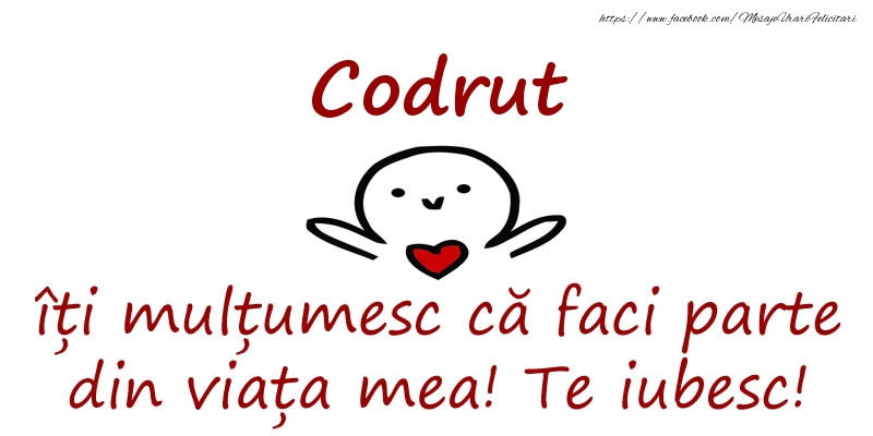 Felicitari de prietenie - Codrut, îți mulțumesc că faci parte din viața mea! Te iubesc!