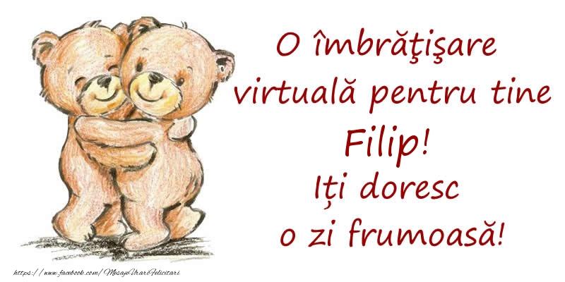 Felicitari de prietenie - O îmbrăţişare virtuală pentru tine Filip. Iți doresc o zi frumoasă!