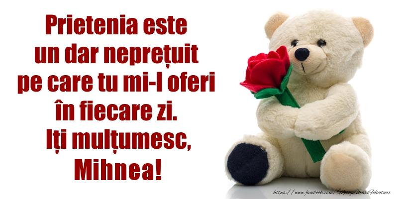 Felicitari de prietenie - Prietenia este un dar neprețuit pe care tu mi-l oferi în fiecare zi. Iți mulțumesc, Mihnea!