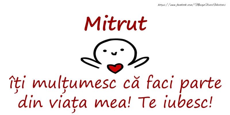 Felicitari de prietenie - Mitrut, îți mulțumesc că faci parte din viața mea! Te iubesc!