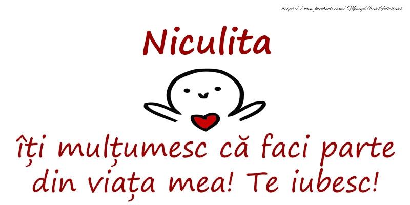 Felicitari de prietenie - Niculita, îți mulțumesc că faci parte din viața mea! Te iubesc!