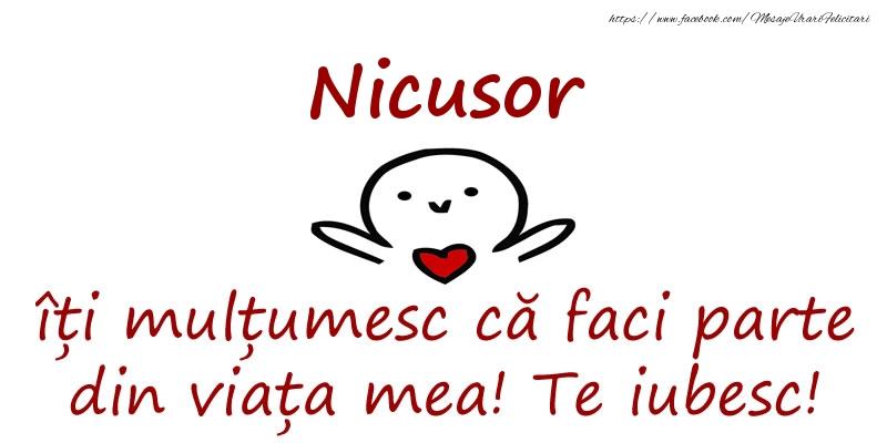 Felicitari de prietenie - Nicusor, îți mulțumesc că faci parte din viața mea! Te iubesc!