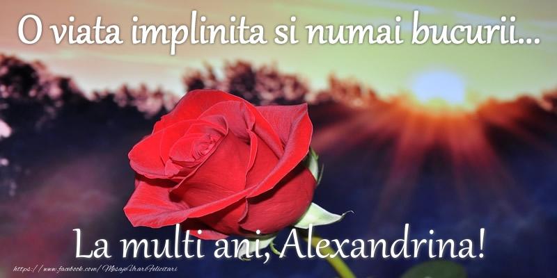 Felicitari de zi de nastere - O viata implinita si numai bucurii... La multi ani Alexandrina!