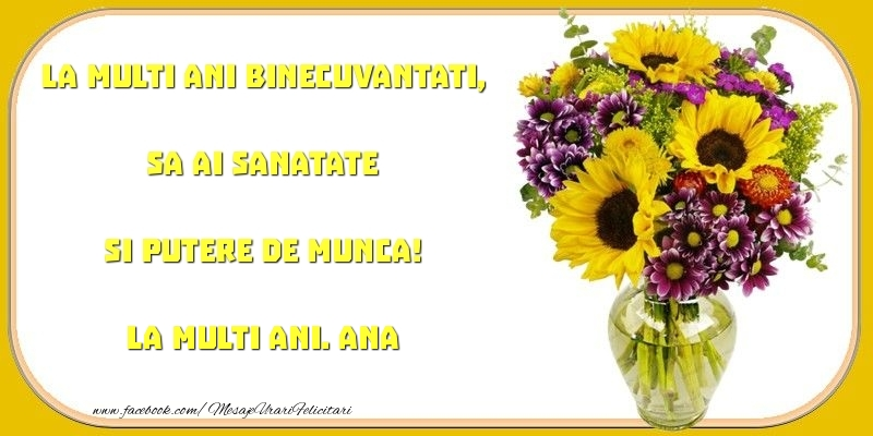 Felicitari de zi de nastere - La multi ani binecuvantati, sa ai sanatate si putere de munca! Ana