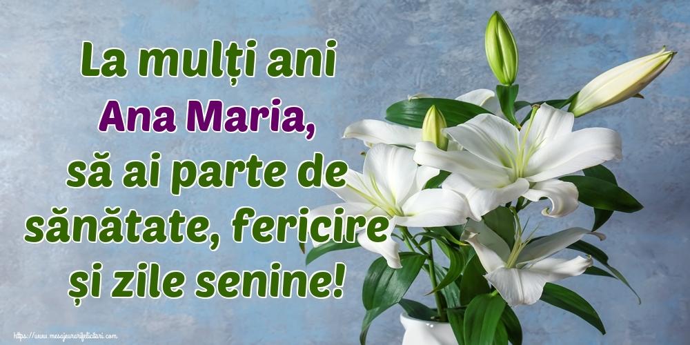 Felicitari de zi de nastere - La mulți ani Ana Maria, să ai parte de sănătate, fericire și zile senine!