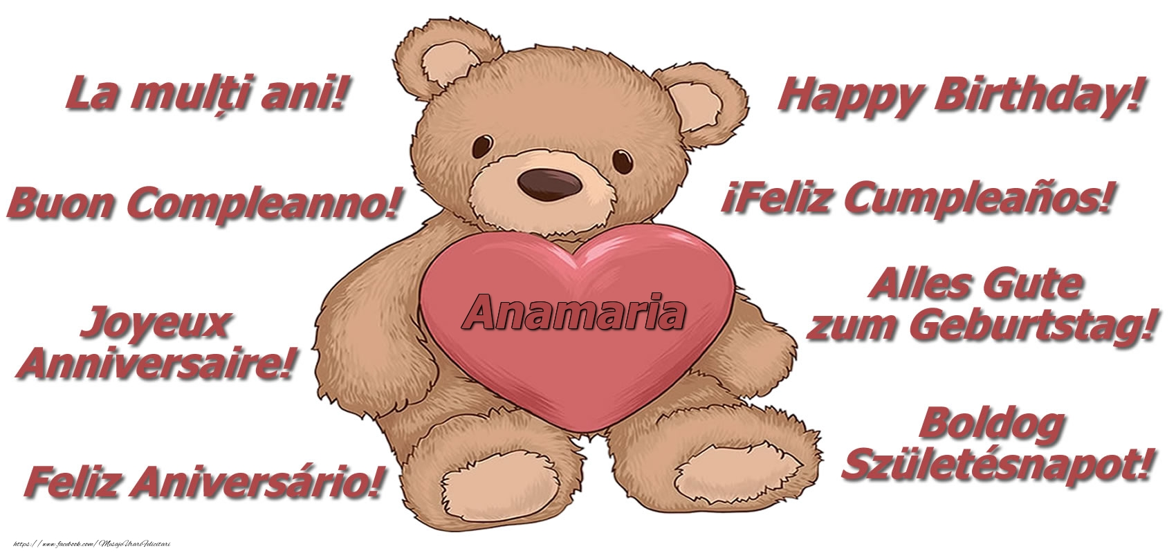 Felicitari de zi de nastere - La multi ani Anamaria! - Ursulet
