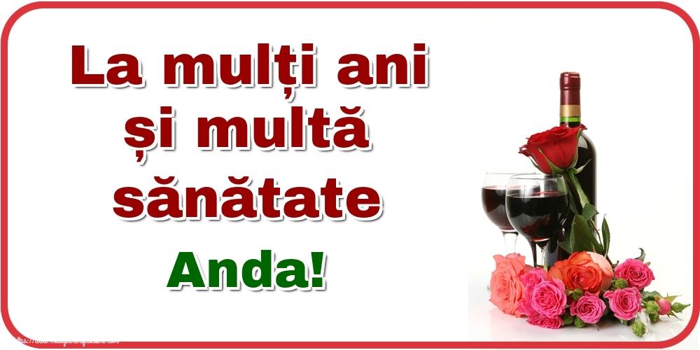Felicitari de zi de nastere - La mulți ani și multă sănătate Anda!