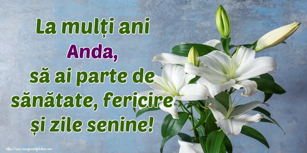 Felicitari de zi de nastere - La mulți ani Anda, să ai parte de sănătate, fericire și zile senine!