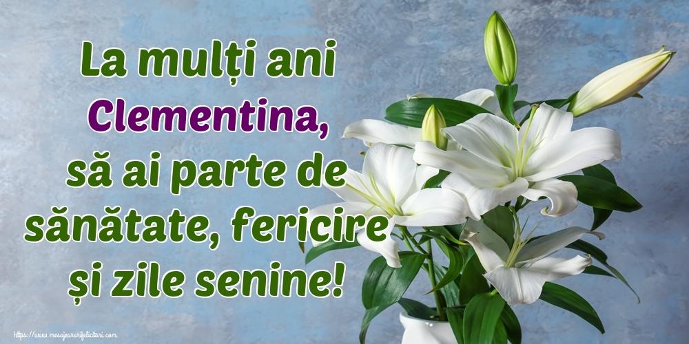 Felicitari de zi de nastere - La mulți ani Clementina, să ai parte de sănătate, fericire și zile senine!