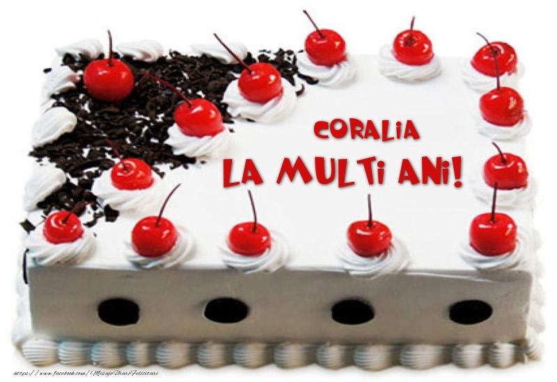 Felicitari de zi de nastere - Coralia La multi ani! - Tort cu capsuni