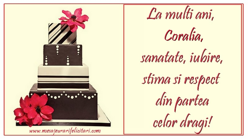 Felicitari de zi de nastere - La multi ani, Coralia