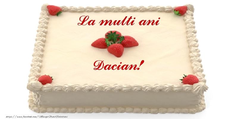 Felicitari de zi de nastere - Tort cu capsuni - La multi ani Dacian!