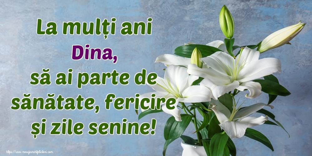 Felicitari de zi de nastere - La mulți ani Dina, să ai parte de sănătate, fericire și zile senine!